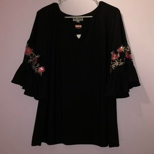 JM Collection Flower Sleeved Black Shirt